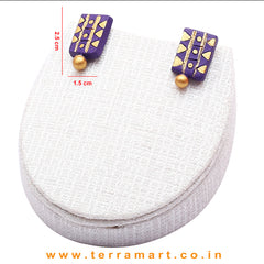 Tidy Violet & Gold Colour Handmade Terracotta Chain & Stud Earring - Terramart Jewellery