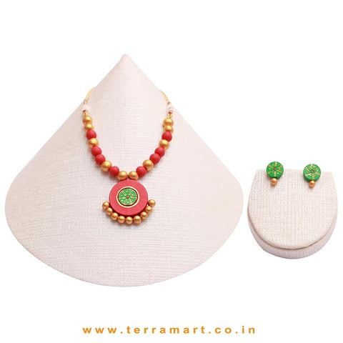 Engaging Red, Green & Gold Colour Painted Handmade Terracotta Chain With Stud Earring