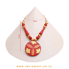 Engaging Red, Orange & Gold Colour Painted Handmade Terracotta Chain With Stud Earring
