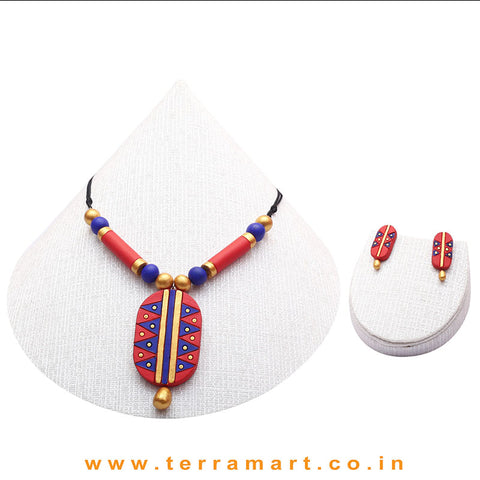 Graceful Red, Blue & Gold Colour Painted  Terracotta Chain Set