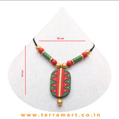 Graceful Red, Sapgreen & Gold Colour Painted  Terracotta Chain Set - Terramart Jewellery