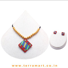 Good-looking Red, Blue, Parrot Green & Gold Colour Terracotta Chain With Earrings - Terramart Jewellery