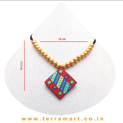 Good-looking Red, Blue, Parrot Green & Gold Colour Terracotta Chain With Earrings