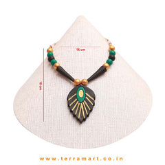 Leaf Designed Black, Green & Gold Colour Handmade Terracotta Chain With Earrings