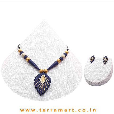 A Grand Chain with Earring in the Combination of Navy Blue, Sandal & Gold