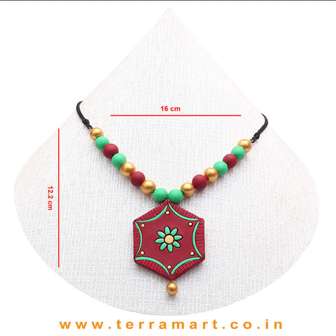 A Grand Chain with Earring in the Combination of Magenta, Parrot Green & Gold