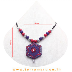 Pleasant Violet, Pink & Silver Colour Handmade Terracotta Chain With Earrings - Terramart Jewellery