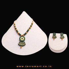 Delicate Sap Green & Gold Colour Handmade Terracotta Chain With Earrings