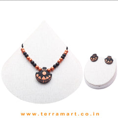 Nice-looking Black & Copper Colour Painted Handmade Terracotta Chain Set - Terramart Jewellery