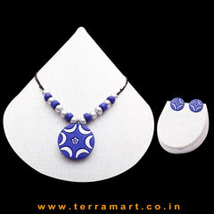 Nice-looking Navy Blue & Silver Colour Painted Handmade Terracotta Chain Set - Terramart Jewellery