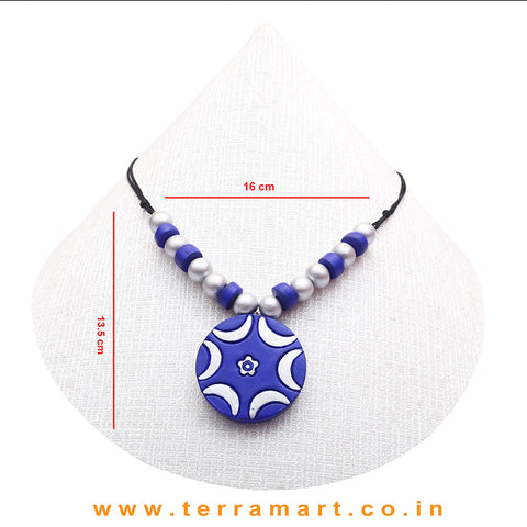 A Grand Chain with Earring in the Combination of Blue & Silver