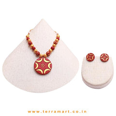 Nice-looking Maroon & Gold Colour Painted Handmade Terracotta Chain Set - Terramart Jewellery