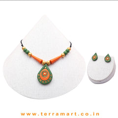 Exquisite Sap Green, Orange & Gold Colour Handmade Terracotta Chain With Earrings