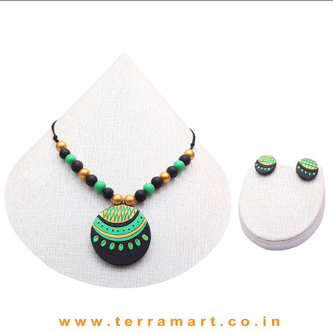 Chain with Earring in the Combination of Black, Parrot Green and Gold