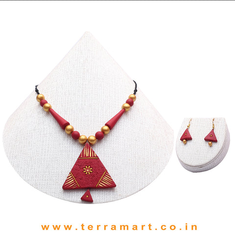 Lovely Maroon & Gold Colour Handmade Terracotta Chain With Earrings - Terramart Jewellery
