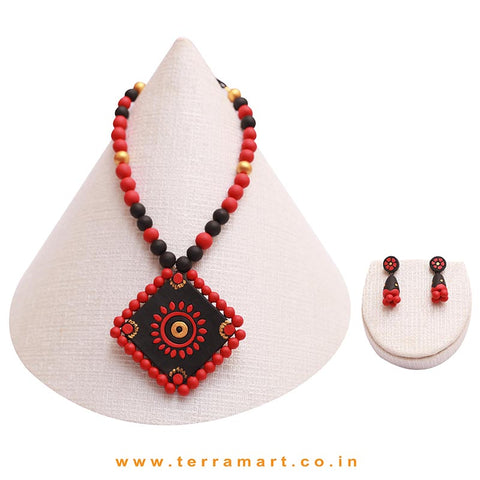 Dainty Black, Red & Gold Colour Handmade Terracotta Chain With Earrings