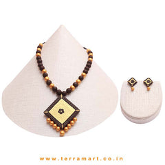 Dainty Dark Brown & Gold Colour Handmade Terracotta Chain With Earrings