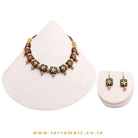 Black & Gold Colour Combinated Grand Necklace Set & Hook Earring - Terramart Jewellery