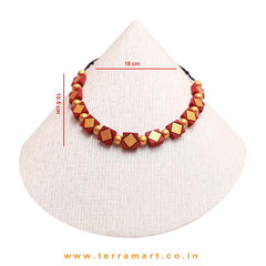 Maroon, Gold Colour Combinated Grand Necklace Set & Studded Earring - Terramart Jewellery