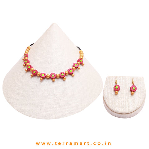 Pink, Green & Gold Colour Combinated Stylish Necklace Set & Hook Earring - Terramart Jewellery