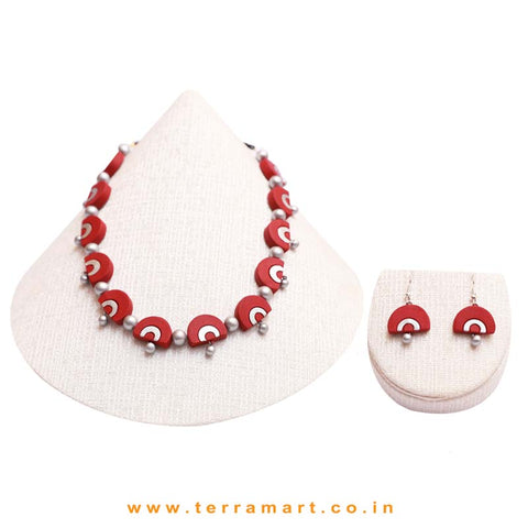 Silver & Maroon Colour Combinated Grand Necklace Set & Hook Earring - Terramart Jewellery