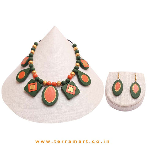 Sap Green, Orange & Gold Colour Combinated Grand Partywear Necklace Set & Hook Earring - Terramart Jewellery