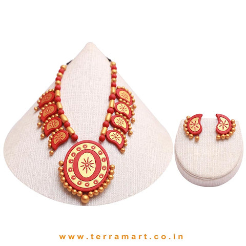 Red & Gold Colour Combinated Grand Partywear Mango Necklace Set & Studded Earring - Terramart Jewellery