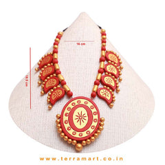 Red & Gold Colour Combinated Grand Partywear Mango Necklace Set & Studded Earring