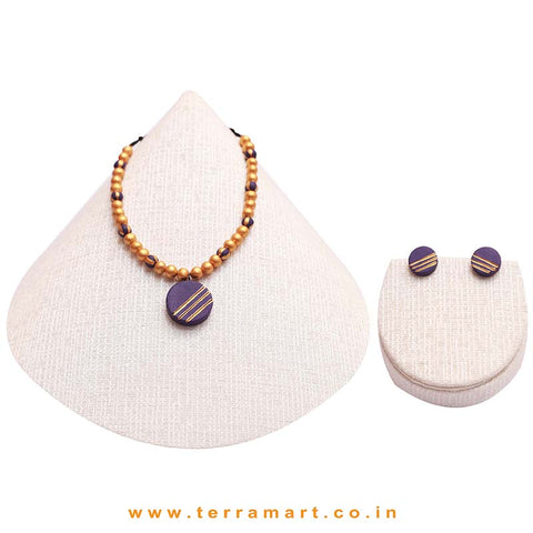 Likeable Violet & Gold Colour Painted Handmade Terracotta Chain Set - Terramart Jewelery