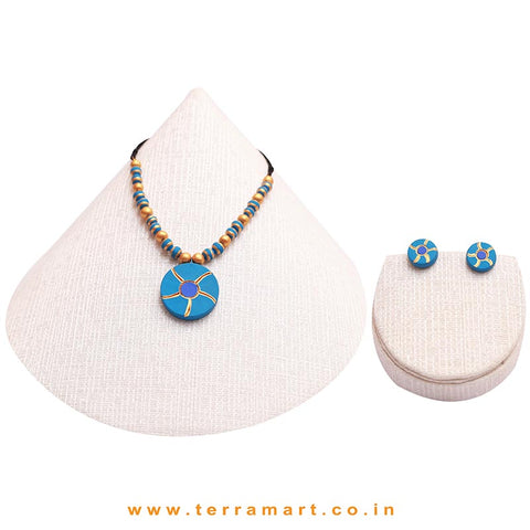 Goodly Painted Sky Blue, Navy Blue & Gold Colour Handmade Terracotta Chain With Earrings
