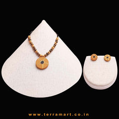 Goodly Painted Mustard, Black & Gold Colour Handmade Terracotta Chain With Earrings - Terramart Jewellery