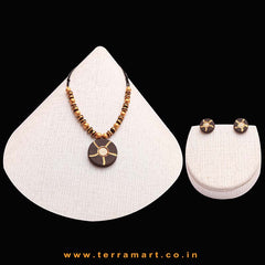 Goodly Painted Brown, Sandal & Gold Colour Handmade Terracotta Chain With Earrings - Terramart Jewellery