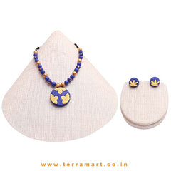 Pleasing Navy Blue & Gold Colour Handmade Terracotta Chain Set