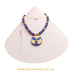 Pleasing Navy Blue & Gold Colour Handmade Terracotta Chain Set - Terramart Jewellery