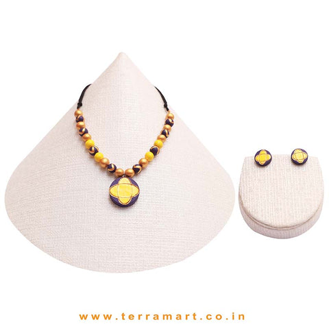 Violet, Yellow & Gold Colour Painted Simple & Nice Handmade Terracotta Chain Set