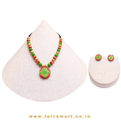 Red, Parrot Green & Gold Colour Painted Simple & Nice Handmade Terracotta Chain Set - Terramart Jewellery