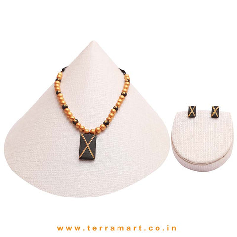 Black & Gold Colour Painted Stylish Handmade Terracotta Chain Set