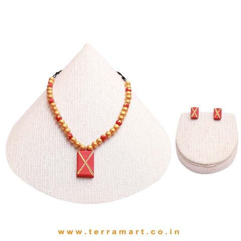 Red & Gold Colour Painted Stylish Handmade Terracotta Chain Set - Terramart Jewellery