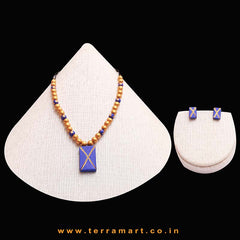 Navyblue & Gold Colour Painted Stylish Handmade Terracotta Chain Set