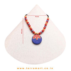 Fantastic Navy Blue, Red & Gold Colour Handmade Terracotta Chain With Stud Earrings - Terramart Jewellery