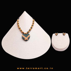 Attracting Dark Green, Orange & Gold Colour Handmade Terracotta Chain With Heart Shaped Earring - Terramart Jewellery