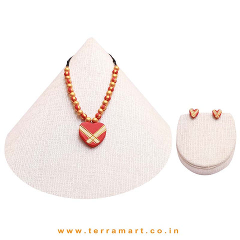 Attracting Red, Sandal & Gold Colour Handmade Terracotta Chain With Heart Shaped Earring - Terramart Jewellery