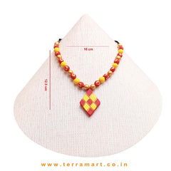 Red, Yellow & Gold Colour Handmade Terracotta Chain Set With Checks Design