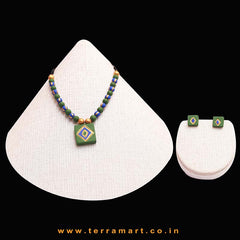 Neatly Painted Sap Green, Navy Blue & Gold Colour Handmade Terracotta Chain Set  - Terramart Jewellery