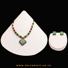 Violet, Green & Gold Colour Painted Neat Handmade Terracotta Chain Set
