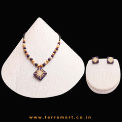 Violet, Sandal & Gold Colour Painted Neat Handmade Terracotta Chain Set