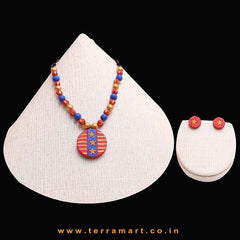 Well Designed Red, Navy Blue, Mustard & Gold Colour Handmade Terracotta Chain With Earrings - Terramart Jewellery