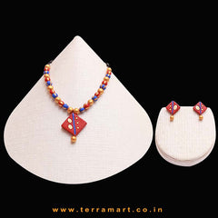 Red, Sandal, Navyblue & Gold Colour Painted Wonderful Handmade Terracotta Chain Set - Terramart Jewellery