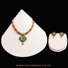Sap Green, Yellow, Red & Gold Colour Painted Wonderful Handmade Terracotta Chain Set - Terramart Jewellery