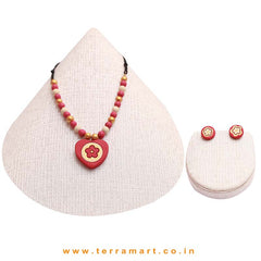 Floral Designer  Pink, Sandal & Gold Colour Handmade Terracotta Chain Set